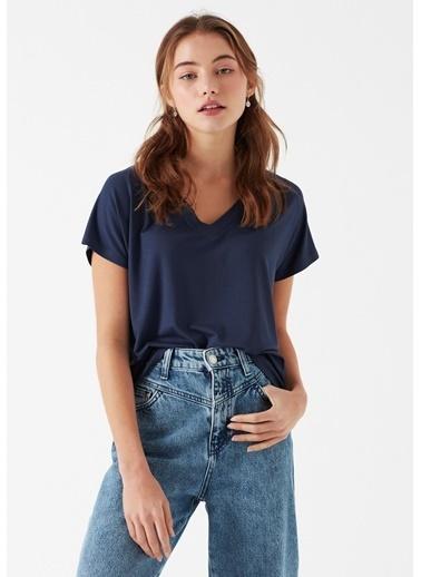 Mavi V Yaka  Basic Tişört Mavi